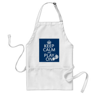 Keep Calm and Play On (horn)(any background color) Adult Apron