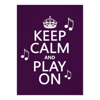 Keep Calm and Play on - music notes - all colours Card