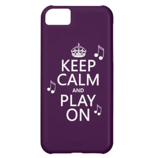 Keep Calm and Play on - music notes - all colours Case For iPhone 5C