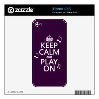 Keep Calm and Play on - music notes - all colours Decal For The iPhone 4