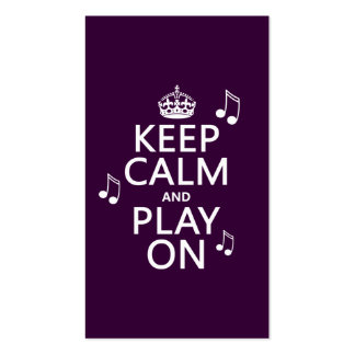 Keep Calm and Play on - music notes - all colours Double-Sided Standard Business Cards (Pack Of 100)
