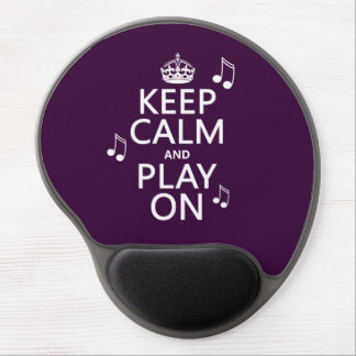 Keep Calm and Play on - music notes - all colours Gel Mouse Pad