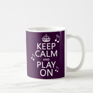 Keep Calm and Play on - music notes - all colours Classic White Coffee Mug