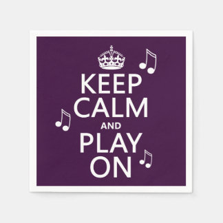 Keep Calm and Play on - music notes - all colours Standard Cocktail Napkin