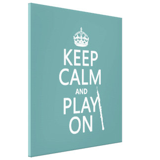 Keep Calm and Play On (oboe)(any color) Canvas Print