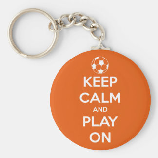 Keep Calm and Play On Orange and White Keychain