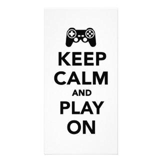 Keep calm and play on photo card