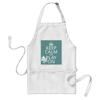 Keep Calm and Play On (Piano)(any background color Adult Apron