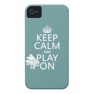 Keep Calm and Play On (Piano)(any background color Case-Mate iPhone 4 Cases
