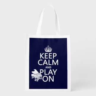 Keep Calm and Play On (Piano)(any background color Grocery Bag