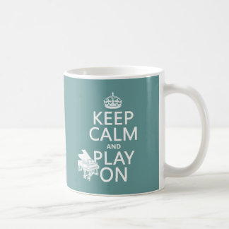 Keep Calm and Play On (Piano)(any background color Classic White Coffee Mug
