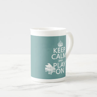 Keep Calm and Play On (Piano)(any background color Tea Cup