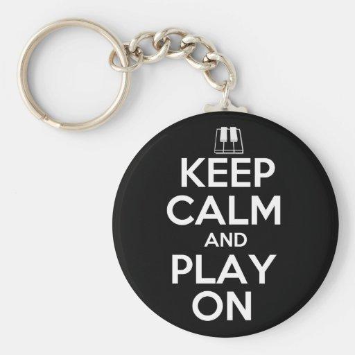 Keep Calm and Play On Piano Key Chain