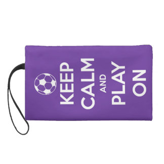 Keep Calm and Play On Purple Wristlet Clutches