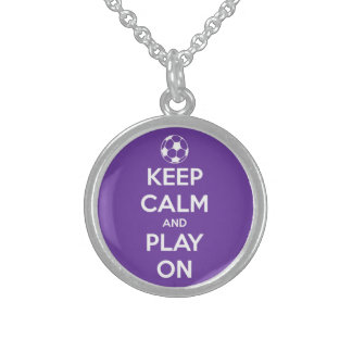 Keep Calm and Play On Purple Round Pendant Necklace