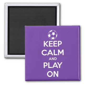 Keep Calm and Play On Purple Square Magnet 2 Inch Square Magnet