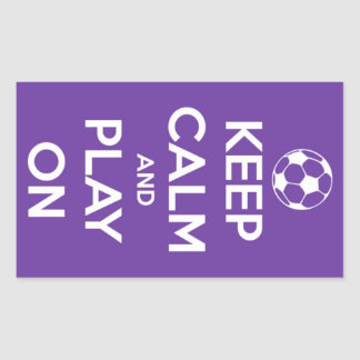 Keep Calm and Play On Purple Stickers Rectangular Sticker