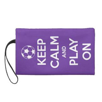 Keep Calm and Play On Purple Wristlet Purse
