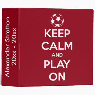 Keep Calm and Play On Red and White 3 Ring Binder