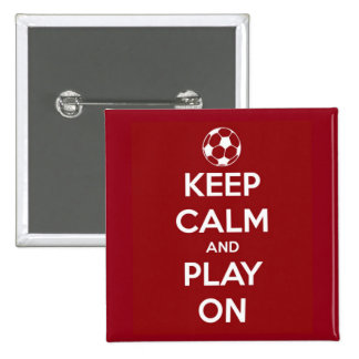 Keep Calm and Play On Red 2 Inch Square Button