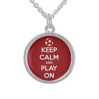 Keep Calm and Play On Red Round Pendant Necklace