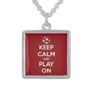 Keep Calm and Play On Red Square Pendant Necklace