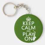 Keep Calm and Play On (saxophone)(any color) Basic Round Button Keychain