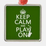 Keep Calm and Play On (saxophone)(any color) Square Metal Christmas Ornament