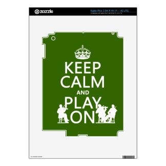 Keep Calm and Play On (stringed instruments) Decal For iPad 3