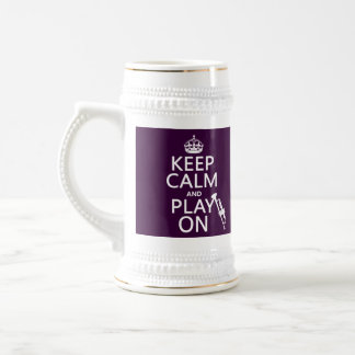 Keep Calm and Play On (trumpet) (all colors) Beer Stein
