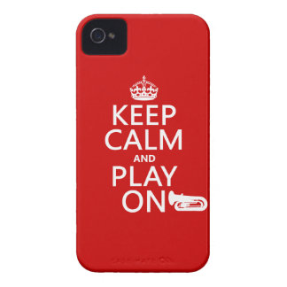 Keep Calm and Play On tuba any background color iPhone 4 Case