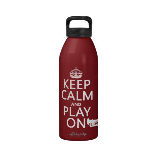 Keep Calm and Play On tuba any background color Water Bottles