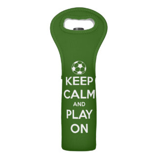 Keep Calm and Play On White on Green Wine Bags