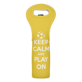 Keep Calm and Play On White on Yellow Wine Bags