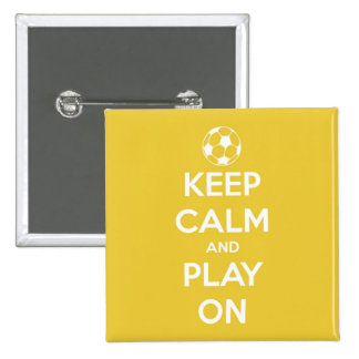 Keep Calm and Play On Yellow 2 Inch Square Button
