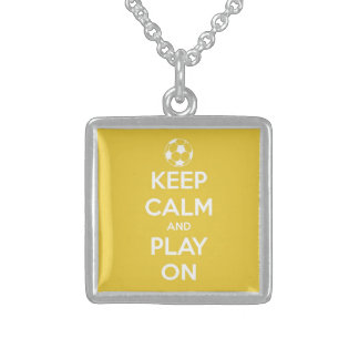Keep Calm and Play On Yellow Square Pendant Necklace