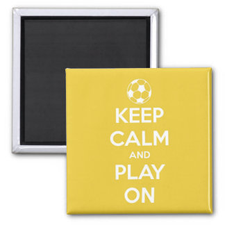 Keep Calm and Play On Yellow Square Magnet 2 Inch Square Magnet