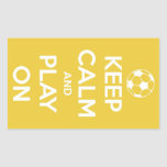 Keep Calm and Play On Yellow Stickers Rectangular Sticker