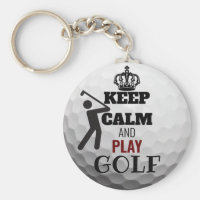 Keep Calm And Play Personalised Golf Ball Keyring