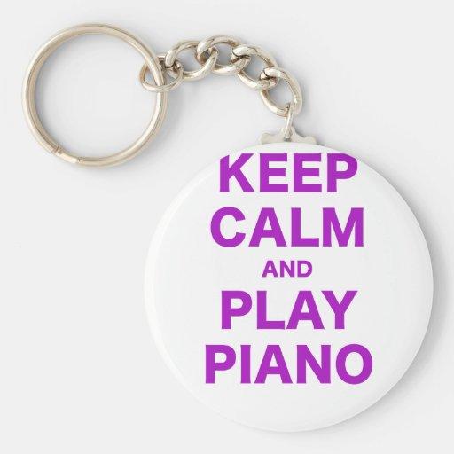 Keep Calm and Play Piano Keychain