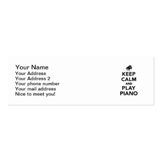 Keep calm and play piano mini business card