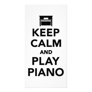 Keep calm and Play Piano Personalized Photo Card