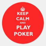 keep calm and play poker symbol british casino classic round sticker