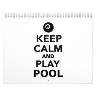 Keep calm and play pool billiards calendar
