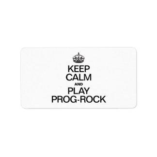 KEEP CALM AND PLAY PROG ROCK ADDRESS LABEL