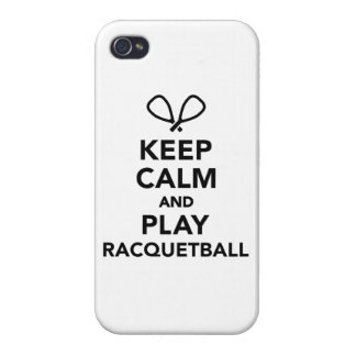 Keep calm and play Racquetball iPhone 4 Case