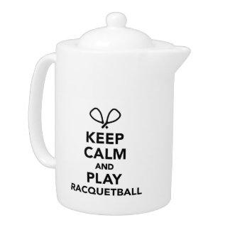 Keep calm and play Racquetball Teapot