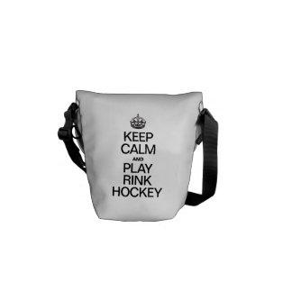 KEEP CALM AND PLAY RINK HOCKEY MESSENGER BAG