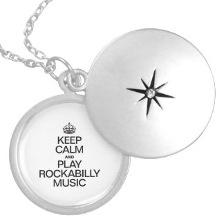 KEEP CALM AND PLAY ROCKABILLY MUSIC ROUND LOCKET NECKLACE