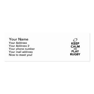 Keep calm and play Rugby Double-Sided Mini Business Cards (Pack Of 20)
